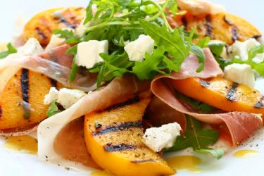 Grilled Peaches w/ Honey & Goat Cheese